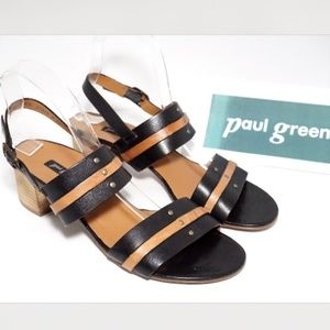 PAUL GREEN Vicky Slingback Heel Sandal Black Cuoio